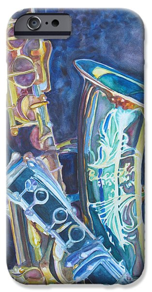 Swing Paintings iPhone Cases - Electric Reeds iPhone Case by Jenny Armitage