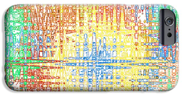 Abstract Digital Tapestries - Textiles iPhone Cases - Electric Yellow Multi iPhone Case by FabricWorks Studio