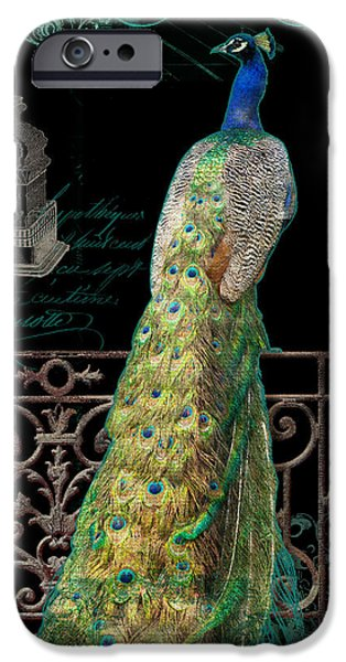 Peacock iPhone Cases - Elegant Peacock Iron Fence w Vintage Scrolls 4 iPhone Case by Audrey Jeanne Roberts