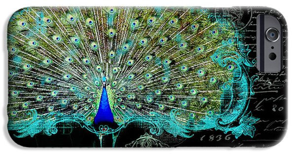 Peacock iPhone Cases - Elegant Peacock w Vintage Scrolls 3 iPhone Case by Audrey Jeanne Roberts