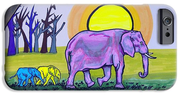 Elephants iPhone Cases - Elephant and Twins iPhone Case by Mary Sperling