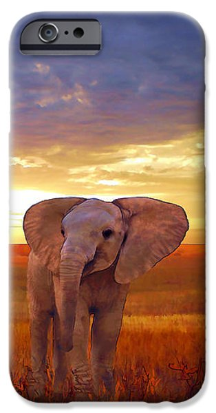 Elephants iPhone Cases - Elephant baby iPhone Case by Valerie Anne Kelly