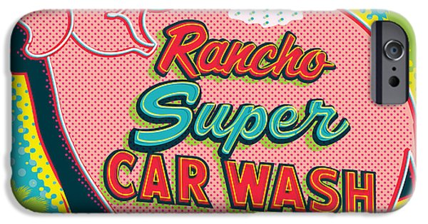 Futuristic iPhone Cases - Elephant Car Wash - Rancho Mirage - Palm Springs iPhone Case by Jim Zahniser
