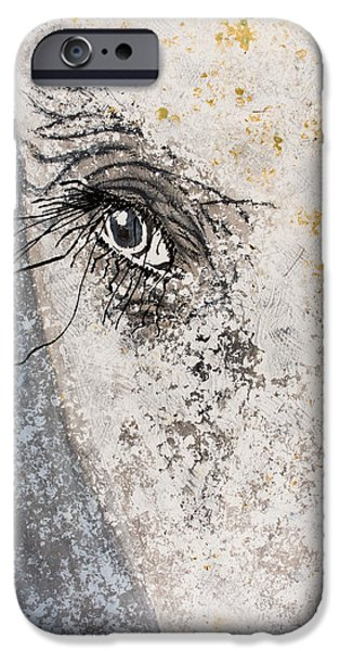 Gray Hair iPhone Cases - Elephant Eyeball iPhone Case by Tracy May