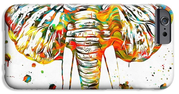 Elephants Mixed Media iPhone Cases - Elephant Head Paint Splatter iPhone Case by Dan Sproul