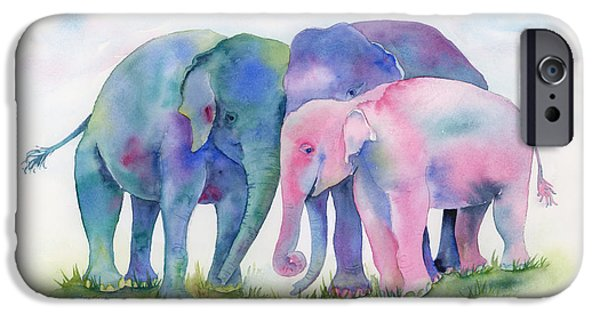 Elephants Paintings iPhone Cases - Elephant Hug iPhone Case by Amy Kirkpatrick