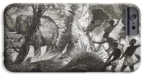 African Animal Drawings iPhone Cases - Elephant Hunting In Africa iPhone Case by Ken Welsh