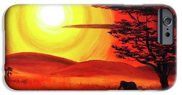 Red Abstract iPhone Cases - Elephant in a Bright Sunset iPhone Case by Laura Iverson