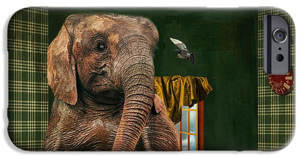 Elephants iPhone Cases - Elephant In The Room iPhone Case by Terry Fleckney