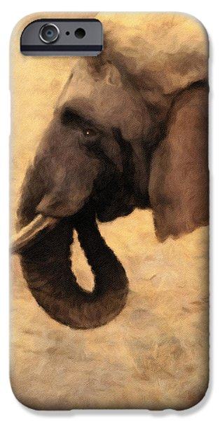 Elephants Mixed Media iPhone Cases - Elephant In The Sunlight iPhone Case by Georgiana Romanovna