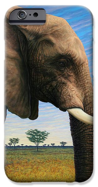 Safari iPhone Cases - Elephant on Safari iPhone Case by James W Johnson