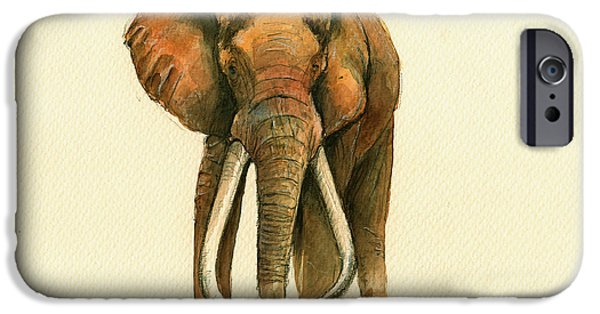 Elephants iPhone Cases - Elephant painting        iPhone Case by Juan  Bosco