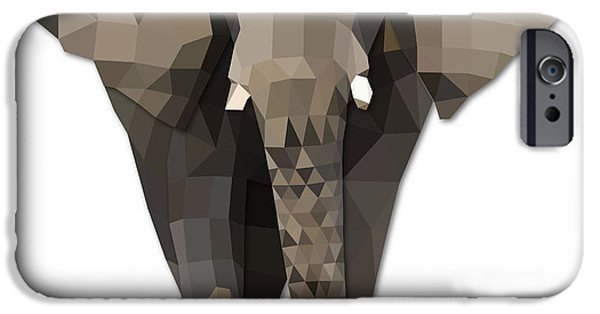 Elephants iPhone Cases - Elephant Polygon Art iPhone Case by Tin Tran