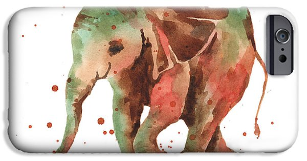 Elephants iPhone Cases - Elephant print iPhone Case by Alison Fennell