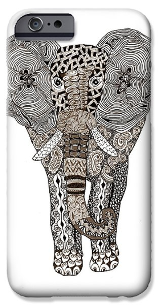 African Animal Drawings iPhone Cases - Elephant iPhone Case by Sharon White