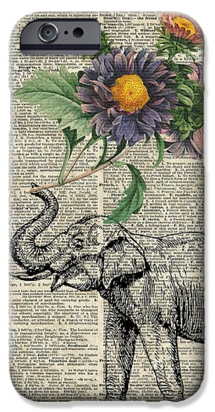 Elephants iPhone Cases - Elephant with flowers iPhone Case by Jacob Kuch