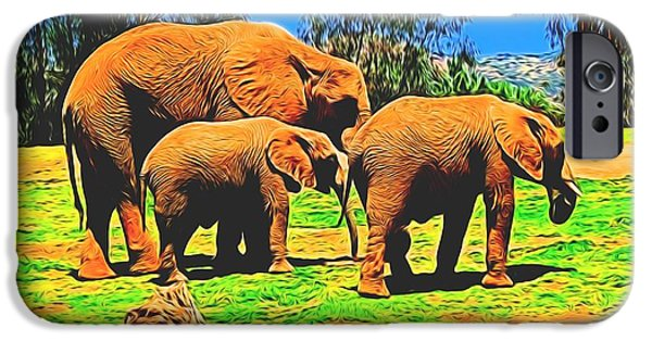 Elephants iPhone Cases - Elephants In Abstract 7 iPhone Case by Kristalin Davis