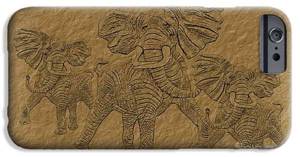 Hightower iPhone Cases - Elephants Three iPhone Case by Tim Hightower