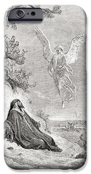 Religious Drawings iPhone Cases - Elijah Nourished By An Angel. After A iPhone Case by Ken Welsh