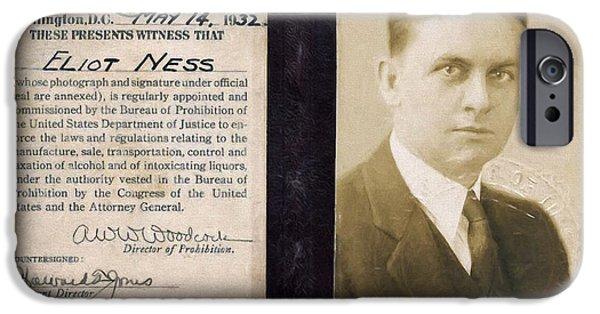 Law Enforcement iPhone Cases - Eliot Ness - Untouchable Chicago Prohibition Agent iPhone Case by Daniel Hagerman