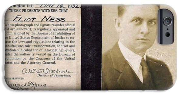 Law Enforcement Mixed Media iPhone Cases - Eliot Ness - Untouchable Chicago Prohibition Agent iPhone Case by Daniel Hagerman