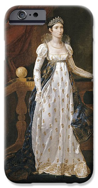 Duchess Paintings iPhone Cases - Elisa Bonaparte Baciocchi Grand Duchess of Tuscany iPhone Case by Guillaume Guillon-Lethiere