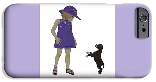 Puppy Digital iPhone Cases - Eliza and Staffordshire Puppy iPhone Case by Corey Ford