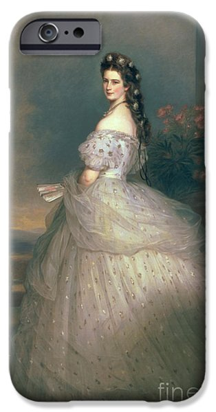 Austrian iPhone Cases - Elizabeth of Bavaria iPhone Case by Franz Xavier Winterhalter