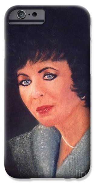 Drama iPhone Cases - Elizabeth Taylor Portrait iPhone Case by Liam O Conaire