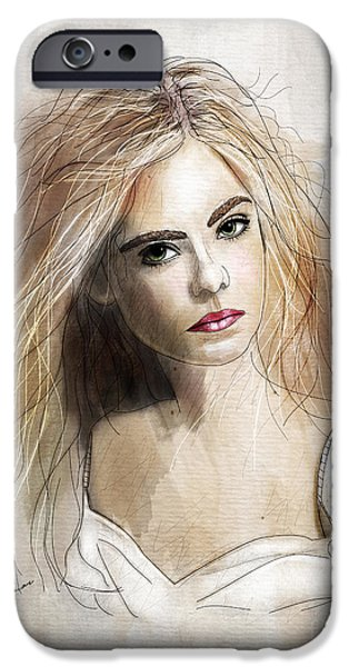 Celebrities Art Drawings iPhone Cases - Ellie iPhone Case by Gary Bodnar