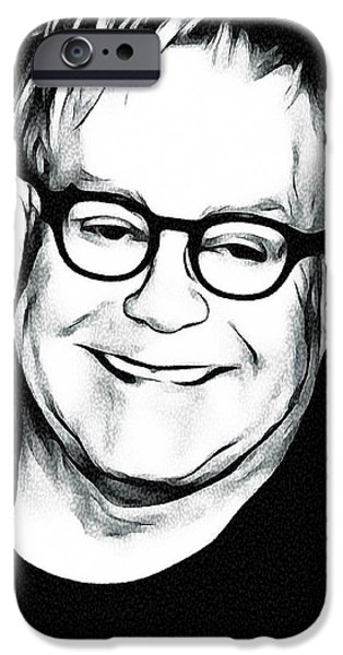 Elton John iPhone Cases - Elton John Black and White iPhone Case by Yury Malkov