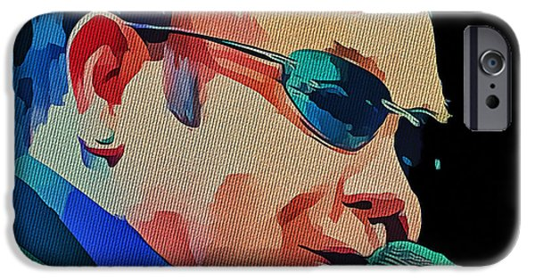 Elton John iPhone Cases - Elton John Blue Eyes Portrait 2 iPhone Case by Yury Malkov