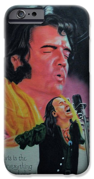 Bono Paintings iPhone Cases - Elvis and Jon iPhone Case by Thomas J Herring