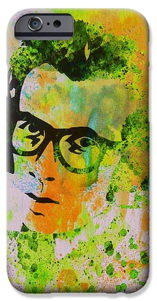 British Portraits iPhone Cases - Elvis Costello iPhone Case by Naxart Studio