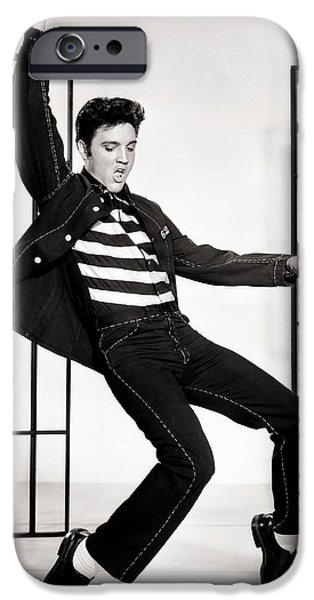 1950s Portraits iPhone Cases - Elvis Presley in Jailhouse Rock 1957 iPhone Case by Mgm
