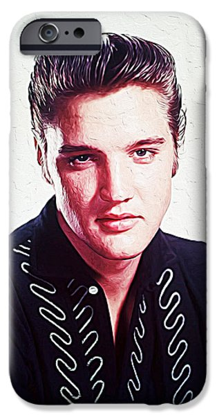 Statue Portrait iPhone Cases - Elvis Presley iPhone Case by Queso Espinosa
