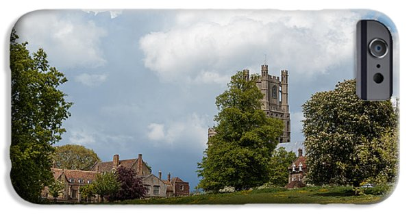 Tall Ship iPhone Cases - Ely cathedral and park iPhone Case by Katey jane Andrews