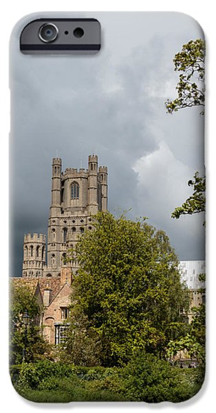Tall Ship iPhone Cases - Ely cathedral tower iPhone Case by Katey jane Andrews