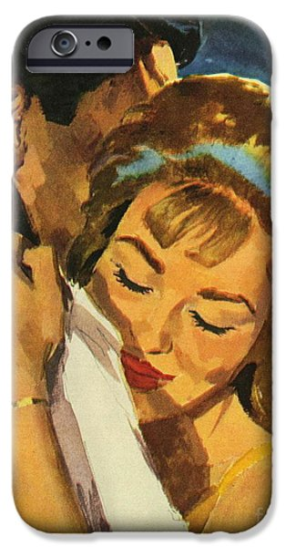 Relationship Paintings iPhone Cases - Embrace iPhone Case by English School