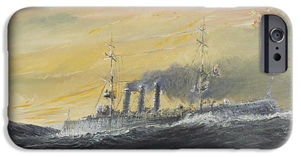 World War One Paintings iPhone Cases - Emden rides the waves iPhone Case by Vincent Alexander Booth