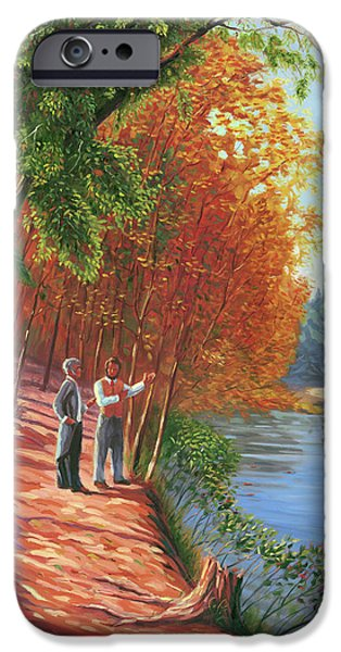 Walden Pond iPhone Cases - Emerson and Thoreau at Walden Pond iPhone Case by Steve Simon