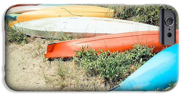 Beach Landscape iPhone Cases - Emotion - Kayaks iPhone Case by Colleen Kammerer