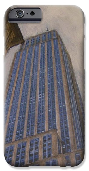 Empire State Mixed Media iPhone Cases - Empire State Building 2 iPhone Case by Anita Burgermeister