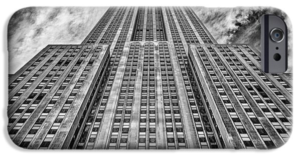 Facade iPhone Cases - Empire State Building Black and White iPhone Case by John Farnan