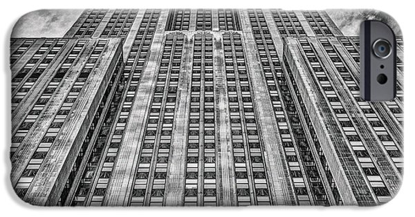 Facade iPhone Cases - Empire State Building Black and White Square Format iPhone Case by John Farnan