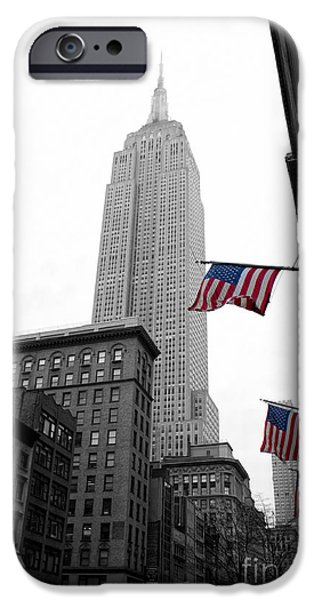 Manhattan iPhone Cases - Empire State Building in the mist iPhone Case by John Farnan