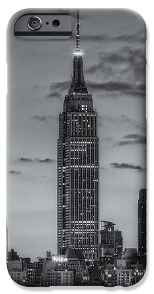 New York City iPhone Cases - Empire State Building Morning Twilight IV iPhone Case by Clarence Holmes