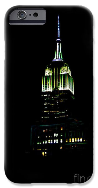 Empire State iPhone Cases - Empire State Building with Lights iPhone Case by Terry Weaver