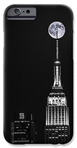Empire State iPhone Cases - Empire State of Moon iPhone Case by Eduard Moldoveanu