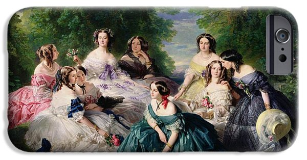 D iPhone Cases - Empress Eugenie Surrounded by her Ladies in Waiting iPhone Case by Franz Xaver Winterhalter